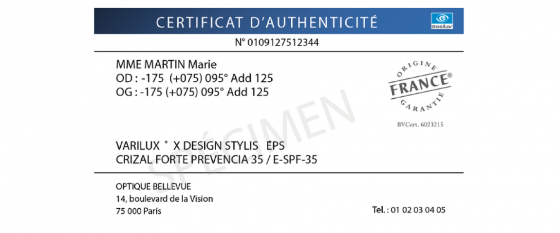 certificat d'authenticité des verres eyecode